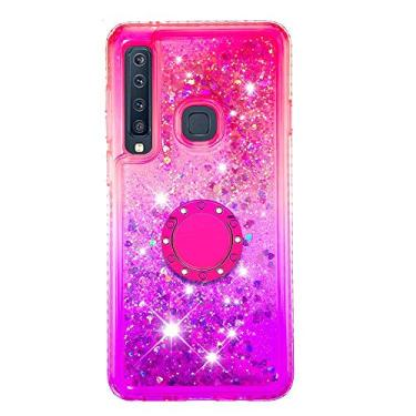 SHUNDA Capa para Samsung Galaxy A9 (2018), Capa Flutuante Líquido Cor Gradiente [Suporte de Anel] Capa Bling Glitter Sparkle - Rosa Roxo