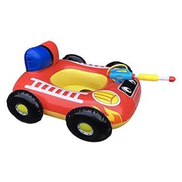Imagem de Anel inflável de natação, tema de brinquedos de piscina para carro de corrida, boia com pistola de água, anel de piscina ao ar livre, festa de verão para crianças