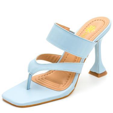 Sandália Feminina Salto Taça Bico Quadrado Em Napa Azul Serenity  feminino