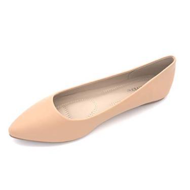 Bella Marie Angie-53 sapatilha feminina clássica bico fino balé sem cadarço, Natural Pu, 9