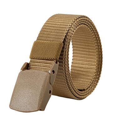 Dheera Cinto de nylon, fivela não metálica não magnética, sem furo, cinto unissex universal para homens e mulheres