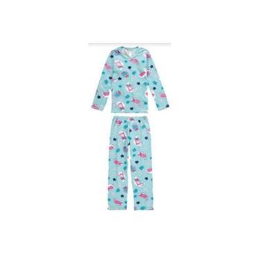 Pijama Infantil Feminino Inverno Azul Cats Malwee