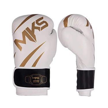 Luva de Boxe MKS Champions III Branco e Dourado-16oz