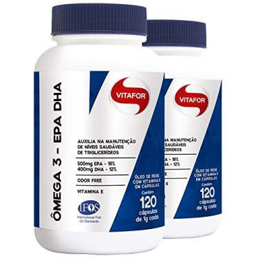 Kit 2 ômega 3 EPA DHA 1000mg Vitafor 120 cápsulas