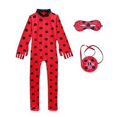 Imagem de Fantasia Ladybug Mascara Bolsa Halloween Infantil (Ladybug, G)