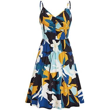 Imagem de maiduoduo01 Vestido casual fashion para mulheres, vestido feminino com estampa floral alça verão gola V bainha grande vestido para festa azul branco 2GG