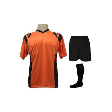 Uniforme Completo modelo Roma 18+2 (18 Camisas Laranja/Preto + 18 Calções Madrid Preto + 18 Pares de Meiões Pretos + 2 Conjuntos de Goleiro) +