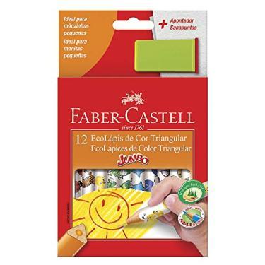 Lápis de Cor, Faber-Castell, EcoLápis Triangular Jumbo + Apontador com Depósito, 12.3012AP, 12 Cores