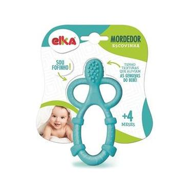 Imagem de Mordedor Infantil Escovinha Azul Elka Brinquedos
