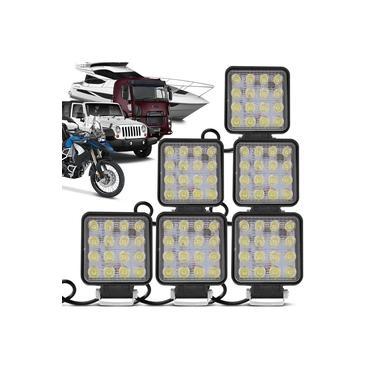 Kit 6 Faróis Milha Quadrado 16 Leds 48w 12/24V Carro Troller Jeep Off-road Caminhão Auxiliar Neblina