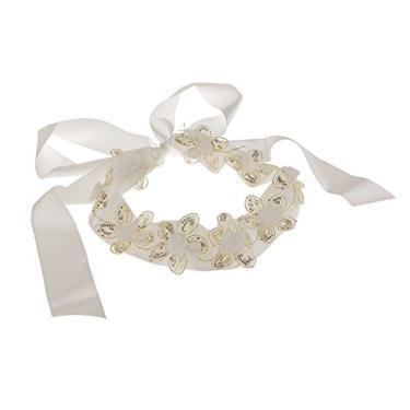 F Fityle Vestido de casamento com lantejoulas e flores brancas, Marfim, One Size