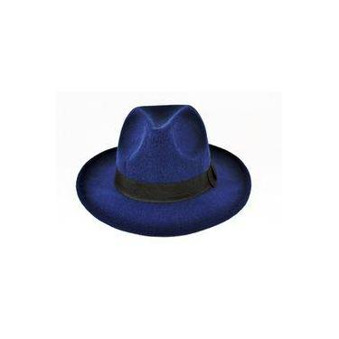 Chapéu Fedora Azul-Marinho - Aba Média c546b2eff75