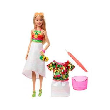 Boneca Barbie Crayola Frutas Supresa Colorido Mattel Gbk18