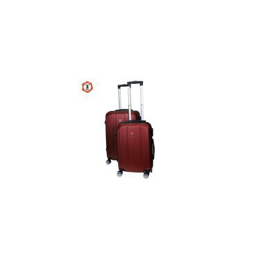 Imagem de Conjunto de 2 malas de viagem em abs vinho com rodízios E cadeado universal tsa