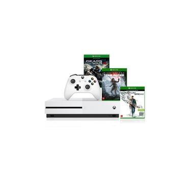 Console Xbox One S 1tb 4k 1 Controle Wireless Branco e Kit Com 3 Jogos - Microsoft