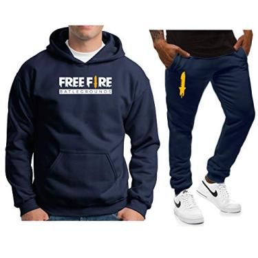 Conjunto Blusa Calça de Agasalho Moletom FreeFire CEUMLCJ32 cor:azul;tamanho:p
