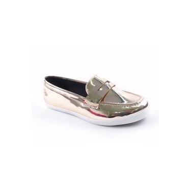 b876280e08 Sapato Feminino Mocassim Vizzano Metal Glamour 1244.100 Dourado