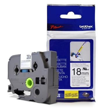 Fita Flexível p/ Rotulador Brother TZeFX-241 Preto Sobre Branca 18mm