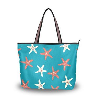 ColourLife Bolsa feminina casual de ombro com estrela do mar coral branca com zíper, Colorido., Large