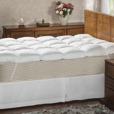 30fc8ff98 Pillow Top Casal 233 Fios Fibra Siliconizada Em Flocos Branco - Plumasul