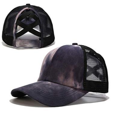 Beerty Boné de beisebol feminino, colorido tie-dye boné de beisebol rabo de cavalo cruzado nas costas, chapéu de sol com fecho traseiro, Preto, 56-60cm(22.05-23.62in)