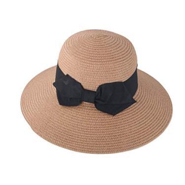 PRETYZOOM Chapéu de palha de praia chapéu de sol com laço para decoração ao ar livre primavera verão (cáqui, adulto) chapéu de sol de verão
