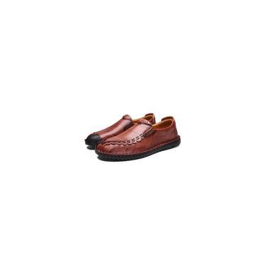Primavera Tendência Casual Shoes Peas Sapatos de couro Sapatos Masculinos Femininos Red Brown-G