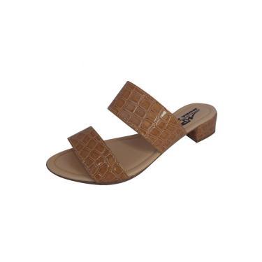 Sandália Tamanco Moda Pé Salto Grosso Baixo 2,5 cm Tan  feminino