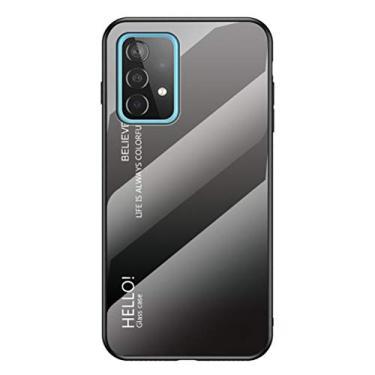 """MOONCASE Capa para Galaxy A52 5G, TPU macio ultra fino + vidro transparente + padrão de cor gradiente antiimpressão digital resistente a arranhões para Samsung Galaxy A52 5G 6,5"""" - Cinza + Preto"""