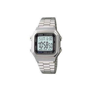 86da221a731 Relógio Feminino Digital Casio A178WA1AD - Prata