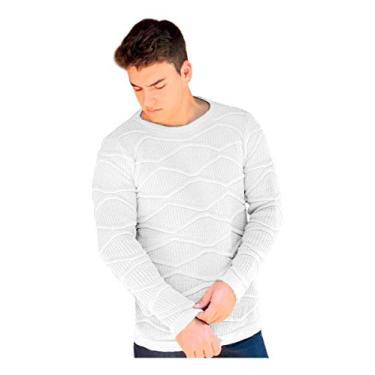 Blusa Suéter Tricot Masculino (BRANCO, M)