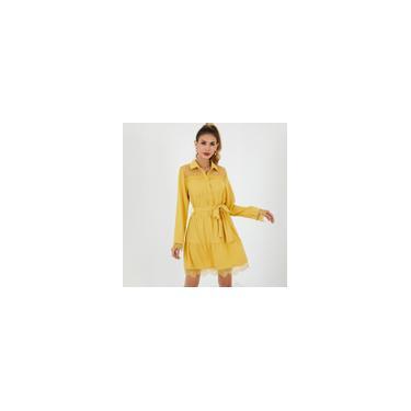Vestido feminino 3 cores com costura de renda em camisa de manga comprida lapela vestido túnica com cinto solto elegante vestido curto Amarelo 2XL