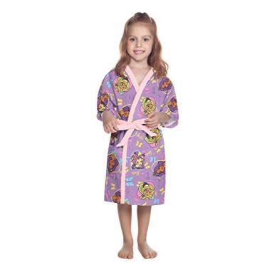 Roupão Aveludado Infantil Quimono Estampado Barbie Reinos Mágicos Pp com 1 Peça - Lepper