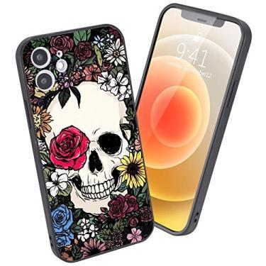 LuGeKe Capa de celular legal para iPhone Animais Impressos Capa de telefone Moldura para iPhone Antiarranhões e Confortável, iPhone 11 Pro Max, Black-Elegant Skull