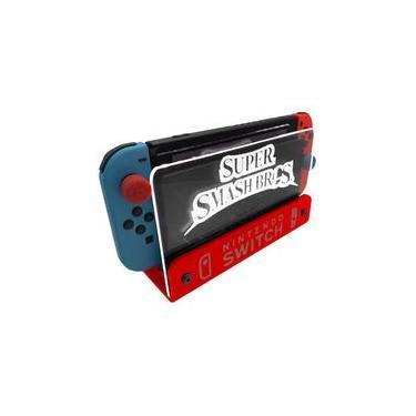 Suporte Bancada/Parede Nintendo Switch Iluminado - Smash Bros - Base Vermelho LED Branco