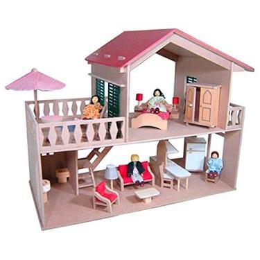 Imagem de Casa de Boneca com Piscina - com Móveis - Madeira - 2 Andares - Bohney