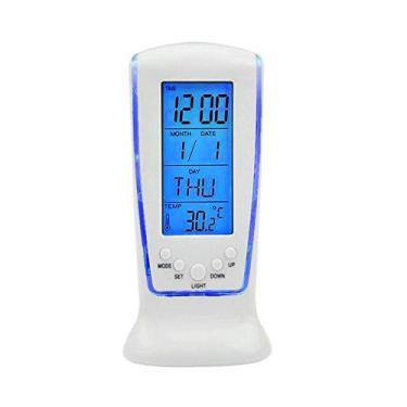 Imagem de Relogio mesa led azul digital hora data temperatura alarme