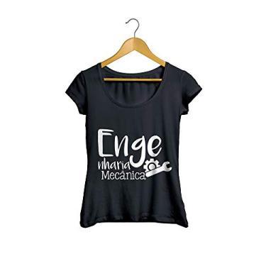 Camiseta Baby Look Engenharia Mecânica Feminino Preto Tamanho:G