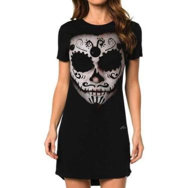 Vestido Estampado Caveira Mexicana Los Muertos Tamanho:G