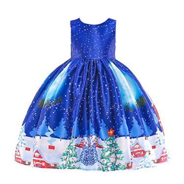 SOIMISS Princesa Vestido Completo Estampado Meninas Natal Vestido Mangas Festa Festiva Roupa Infantil Vestido Infantil Delicado Exquisite (Tamanho 110cm, Azul)