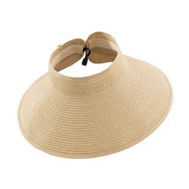Romacci Chapéu de praia feminino de aba larga com viseira de sol UV FPS 50+, Bege, tamanho �nico