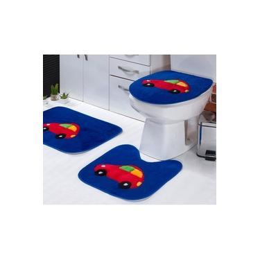 Imagem de Jogo de Tapetes Infantil Banheiro Fusca Azul Royal Padrão 3 Peças