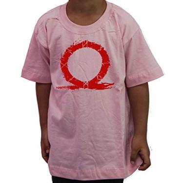 Camiseta Infantil Geek God Of War 4 Kratos Titans Gaia Gamer Cor:Rosa;Tamanho:2