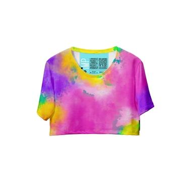 Blusa Cropped Feminina Estampa Tie Dye Conforto Casual Rosa-amarelo