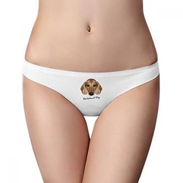 Calcinha feminina marrom curta Dachshund Dog Animal Calcinha fio dental respirável e macia, Branco, M