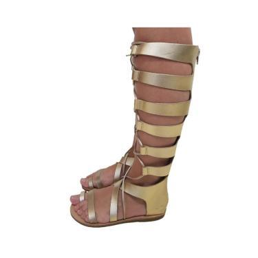 Sandália Gladiadora SapatoWeb Rasteira Couro Dourado  feminino