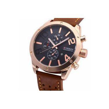 9bb09e64770 Relógio Masculino Original Curren Dourado Pulseira De Couro