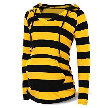 Moletom com capuz feminino SUNNYBUY para grávidas com bolso listrado amarelo e preto, Yellow&black Striped, Medium