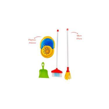 Imagem de Brinquedo Kit De Limpeza Infantil My Cleaning Maral Vassoura-esfregão-pá-balde