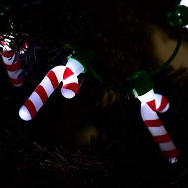 Enfeite Natal Decorativo Colar Led Lampada Candy Cane 40cm